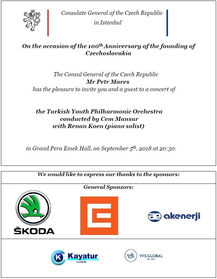 Pozvánka koncert 100 let anglicky