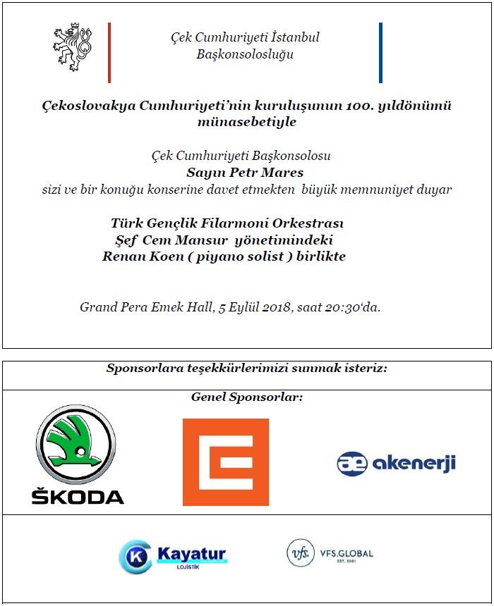 Pozvánka koncert 100 let turecky
