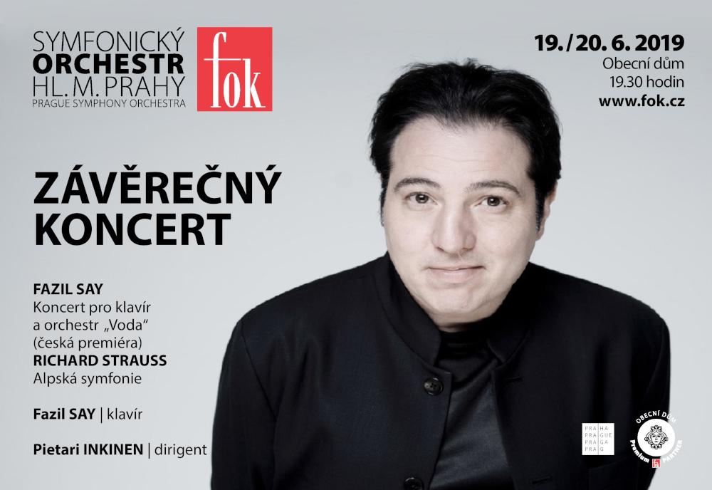 Pozvánka na pražský koncert klavíristy Fazil Say – červen 2019