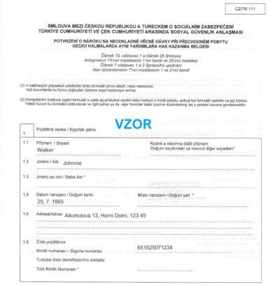 Zdravotní péče v Turecku a dokument CZ/TR 111
